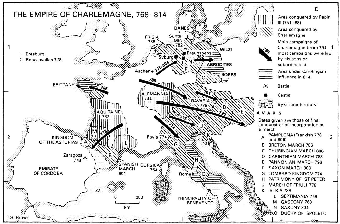 charlemagne and the carolingian empire Charlemagne, or charles the great, was king of the franks between 768 and 814, and emperor of the west between 800 and 814 he founded the holy roman empire, strengthened european economic and political life, and promoted the cultural revival known as the carolingian renaissance.